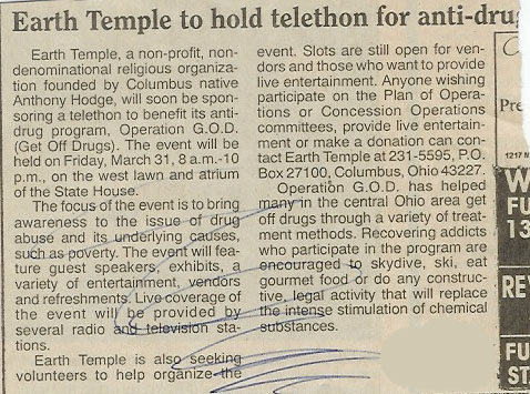 Earth Temple to Hold Telethon for Anti-Drug Awareness
